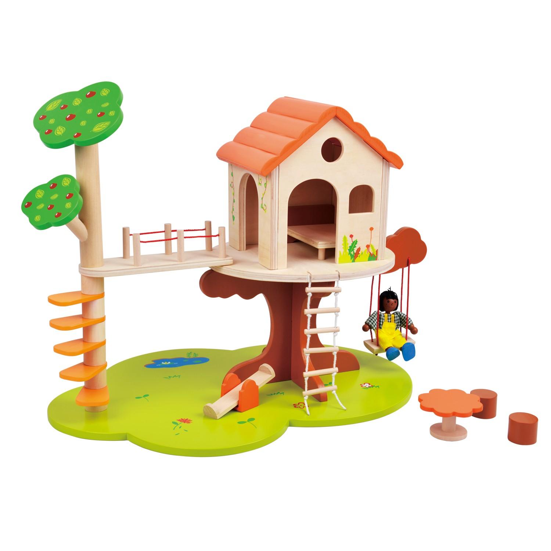 дървена къща за кукли на дърво-детски играчки за момичета-bellamie