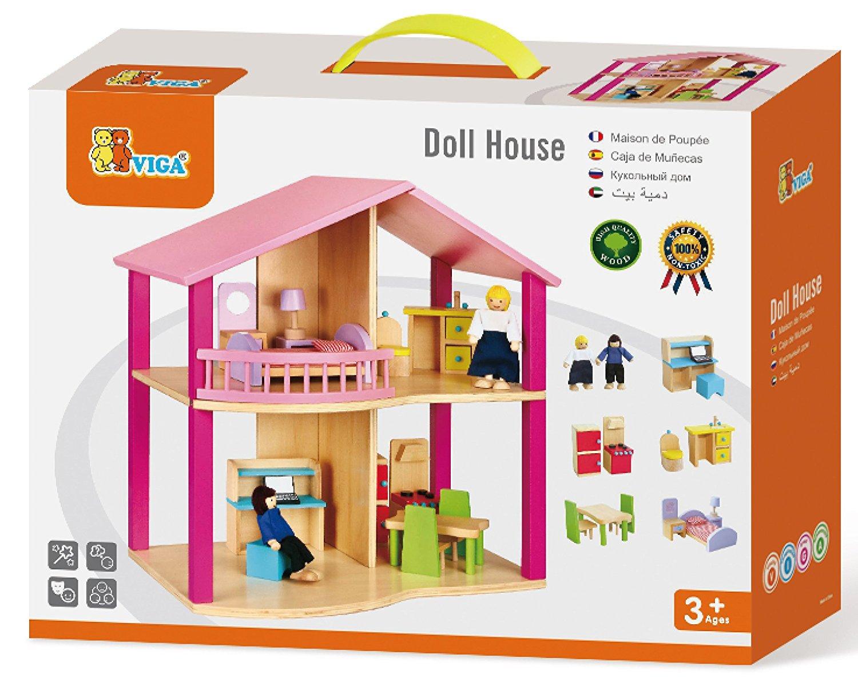 дървена къща за кукли в розово-детски играчки за момичета-bellamie