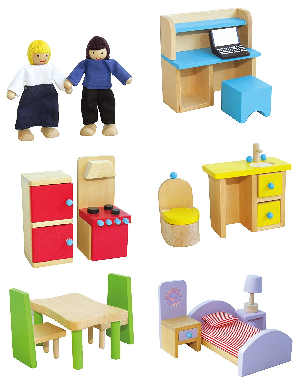 дървена къща за кукли в розово-детски играчки за момичета(1)-bellamie