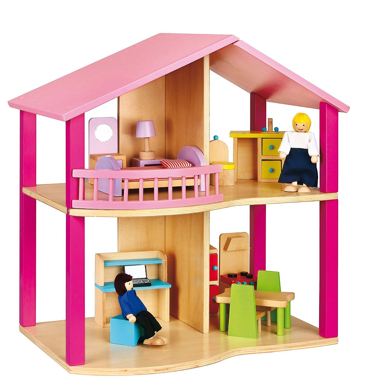дървена къща за кукли в розово-детски играчки за момичета(2)-bellamie