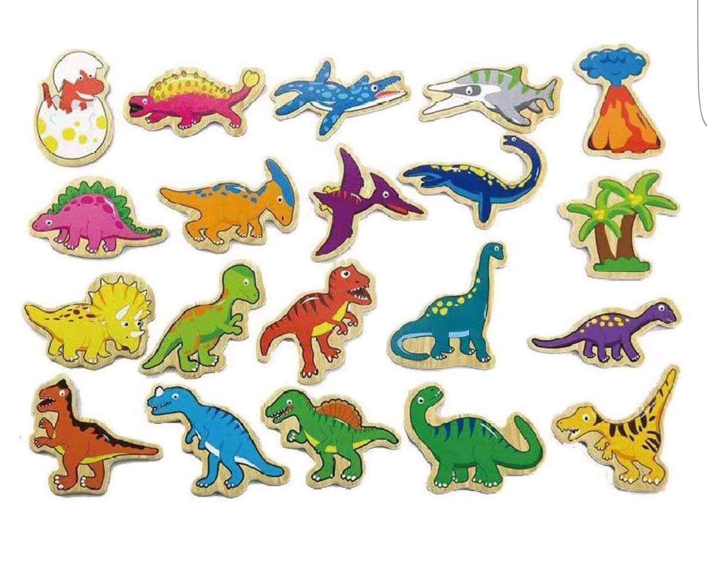 Магнитни динозаври-дървени образователни играчки-bellamie