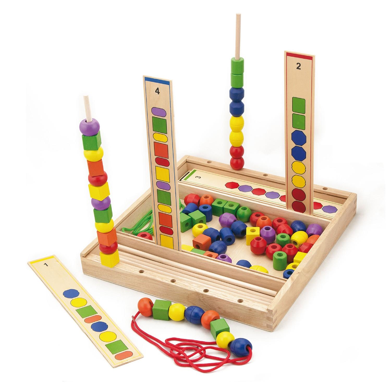 Образователна игра за нанизване на форми -дървени образователни играчки от Viga toys-bellamiestore
