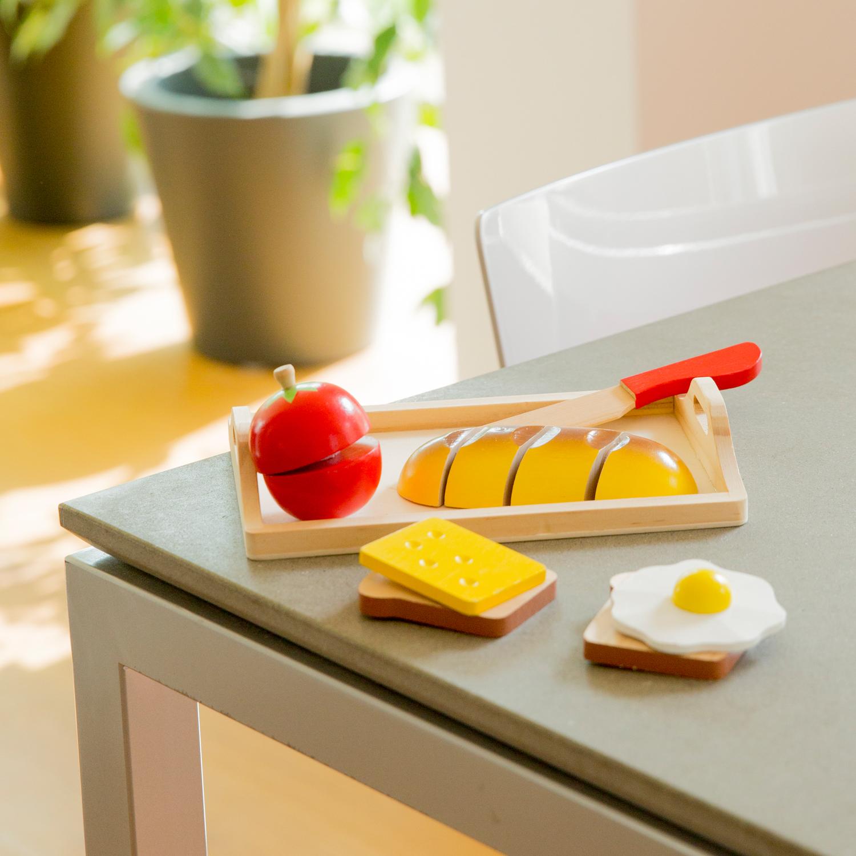 """Детска дървена кухня и аксесоари -Комплект за рязане """"Закуска"""" с табла(3)-bellamie"""