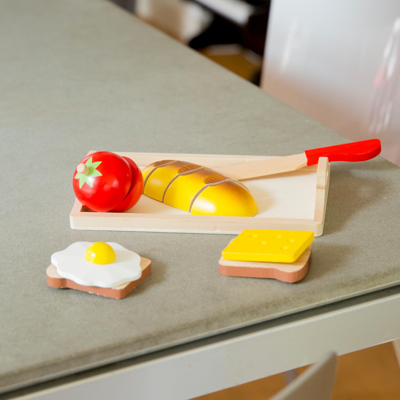 """Детска дървена кухня и аксесоари -Комплект за рязане """"Закуска"""" с табла(2)-bellamie"""