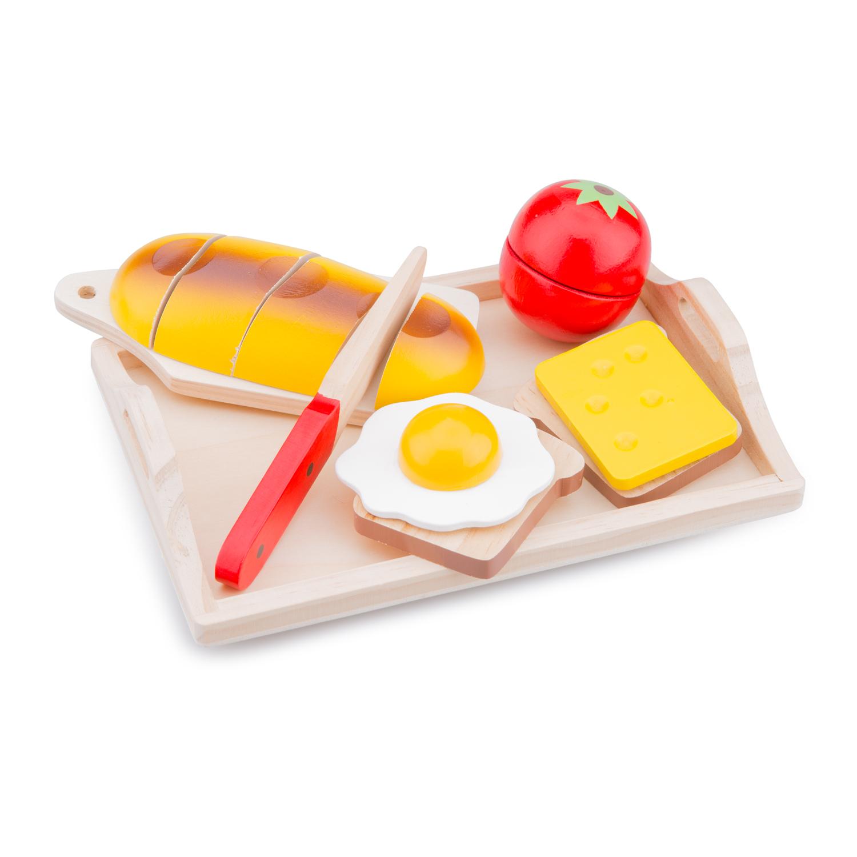 """Детска дървена кухня и аксесоари -Комплект за рязане """"Закуска"""" с табла-Bellamie"""