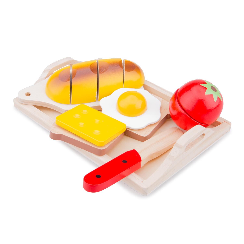 """Детска дървена кухня и аксесоари -Комплект за рязане """"Закуска"""" с табла(1)-bellamie"""
