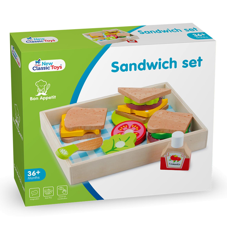 """Детска дървена кухня и аксесоари -Кутия за сандвичи"""" с продукти за рязане-bellamie"""