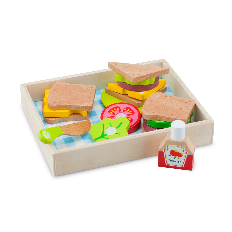 """Детска дървена кухня и аксесоари -Кутия за сандвичи"""" с продукти за рязане(4)- bellamie"""