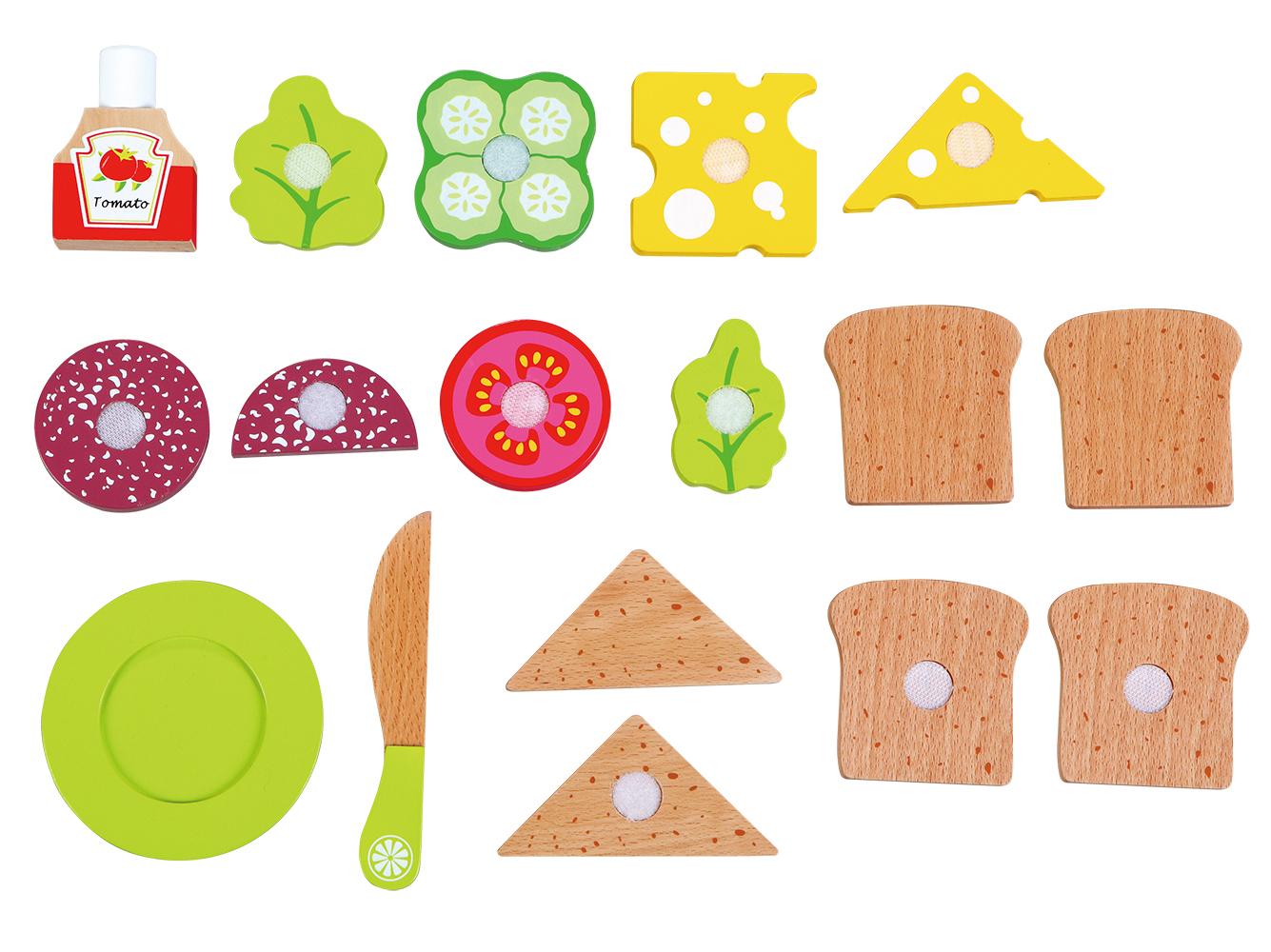 """Детска дървена кухня и аксесоари -Кутия за сандвичи"""" с продукти за рязане(3)-bellamie"""
