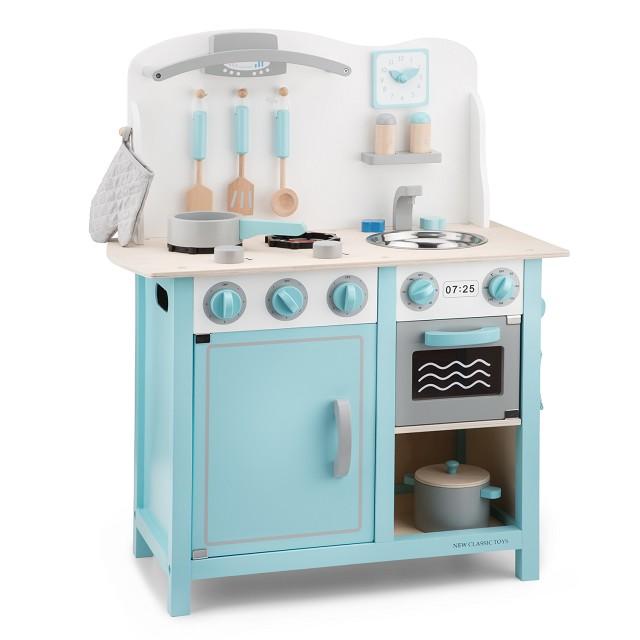 Детска дървена кухня в синьо-лукс-дървена играчка-bellamie