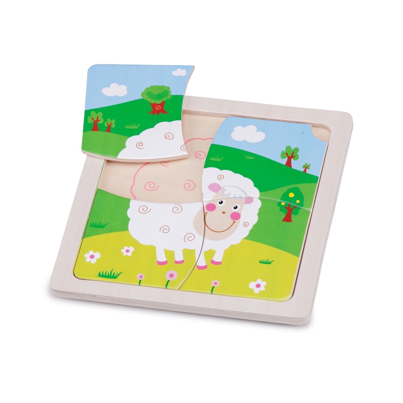 Детски дървен пъзел - Овчица- Беллами