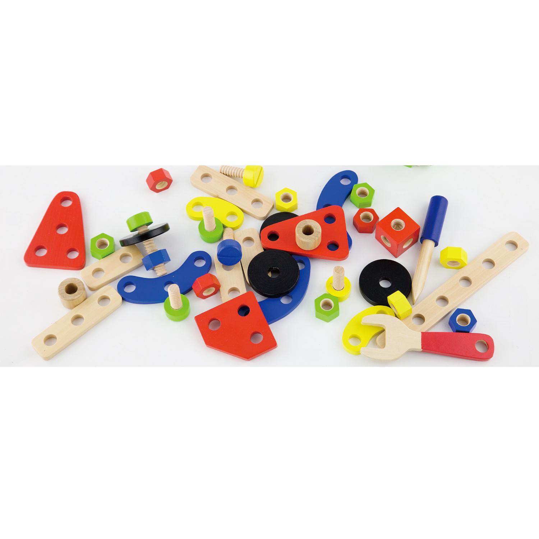 Дървен конструктор с гайки и болтове - 68 части - играчка за момчета(2)-bellamie
