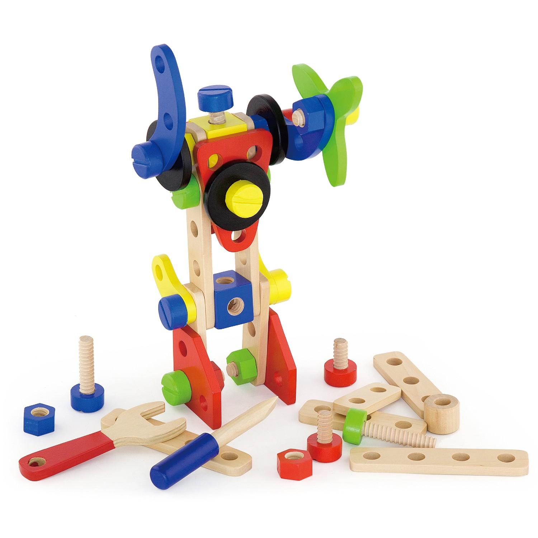 Дървен конструктор с гайки и болтове - 68 части - играчка за момчета- Bellamie