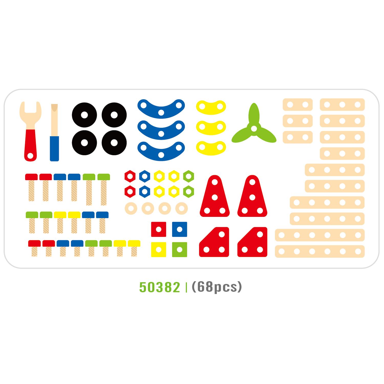 Дървен конструктор с гайки и болтове - 68 части - играчка за момчета(1)-bellamie