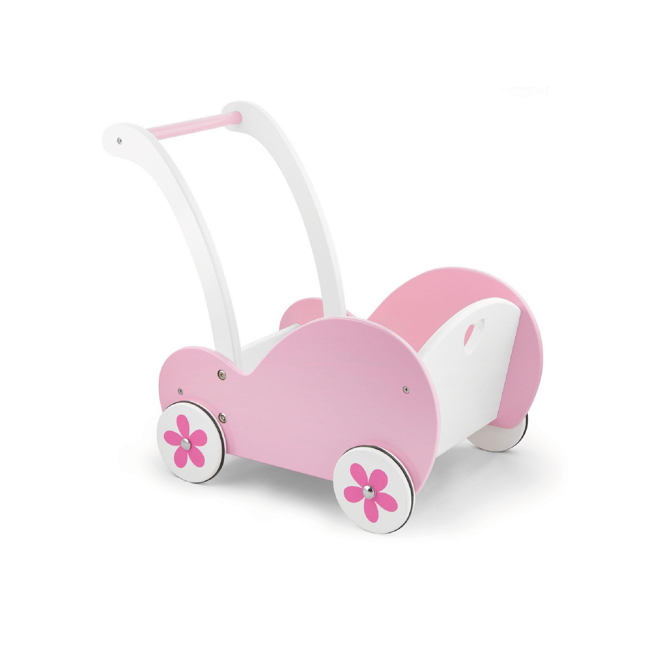 Дървена розова проходилка-дървена количка за кукли от Viga toys(2)-bellamie