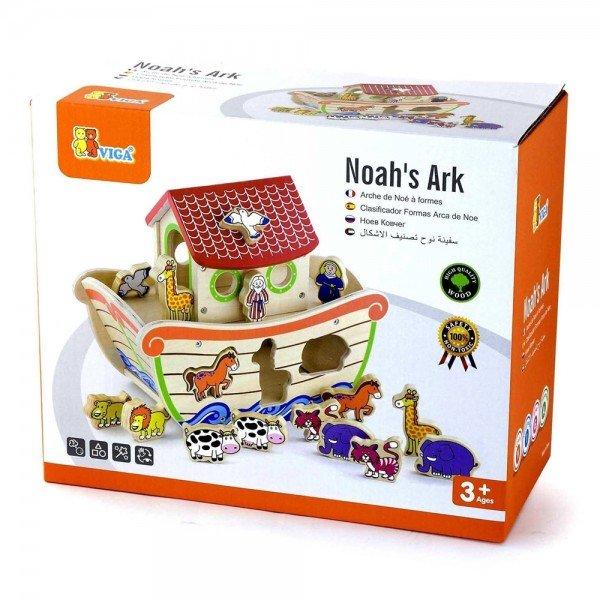 Детска дървена играчка за сортиране -Ноевият ковчег