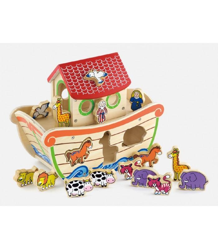 Детска дървена играчка за сортиране -Ноевият ковчег-Белами