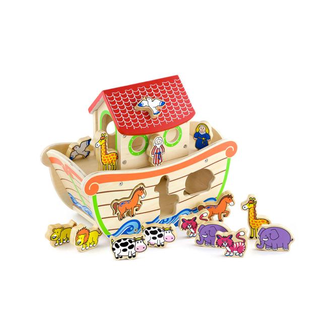 Детска дървена играчка за сортиране -Ноевият ковчег-Беллами