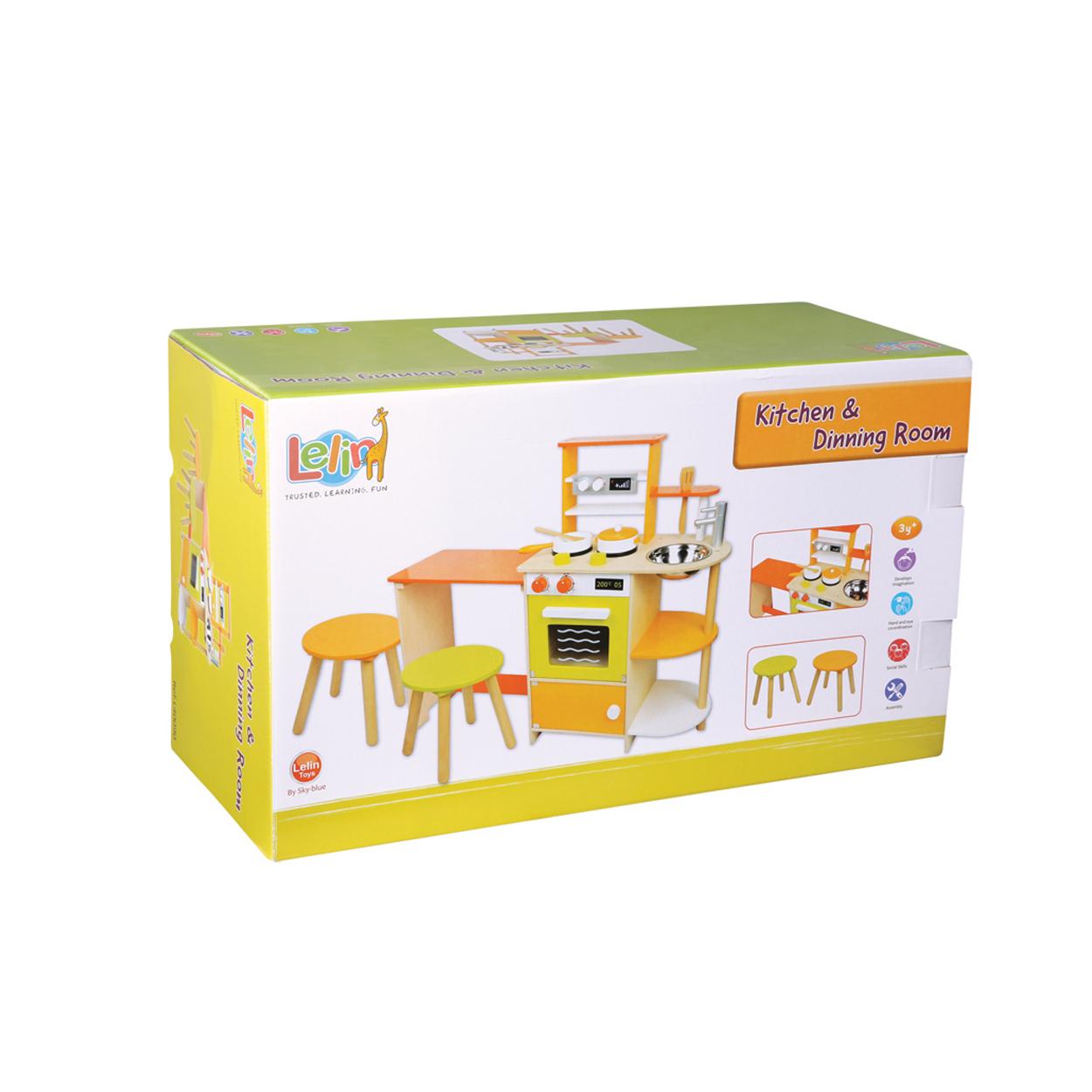Детска дървена кухня със столчета-Беллами