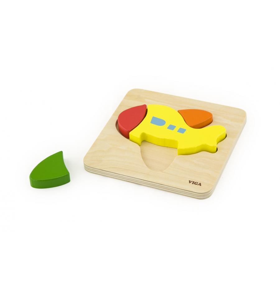 Детски дървен пъзел Самолет- Viga toys(1)-Bellamie