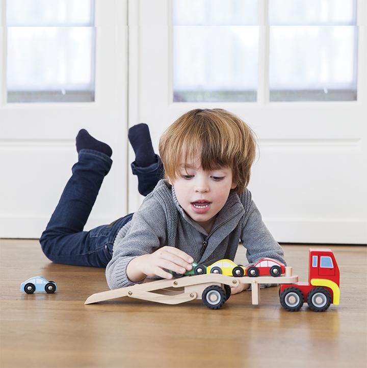 Детски играчки за момчета - Камион автовоз с четири коли(2)-bellamie