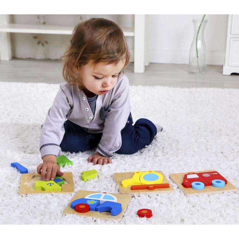 Детски пъзел самолет - дървена играчка от Tooky toy-bellamiestore