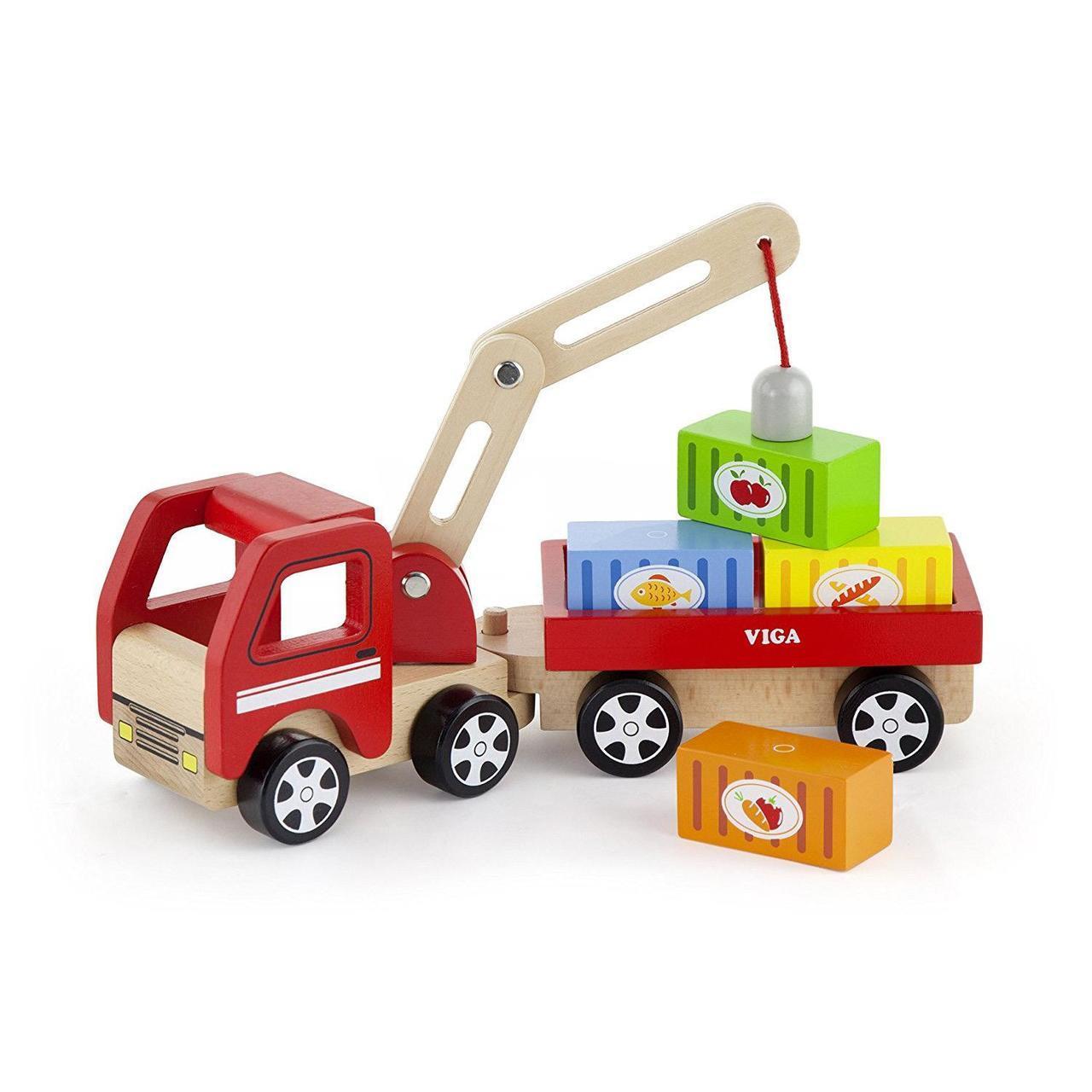 Детски товарен камион с контейнери от Viga toys -детски играчки за момчета-Беллами