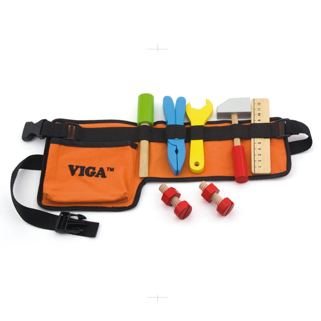 Комплект колан с детски инструменти - 10 бр- Детски дървени играчки -Беллами