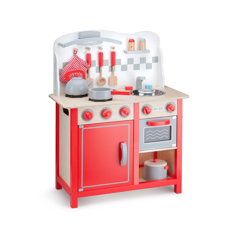 детска дървена кухня в червено-лукс-дървена играчка-bellamie