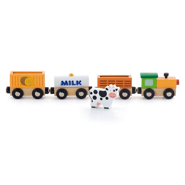 Детски дървен влак - Фермата- дървена играчка-bellamie