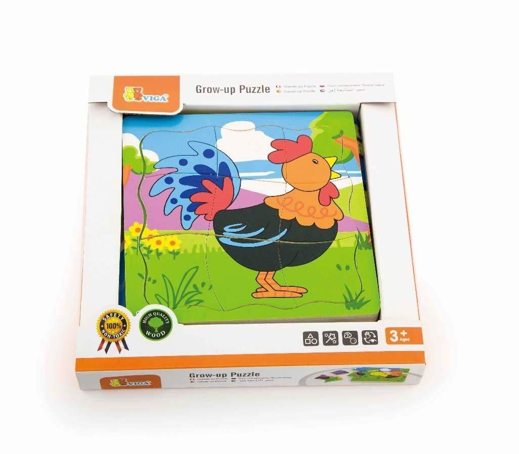 детски растящ пъзел - Петел-дървена играчка-bellamie