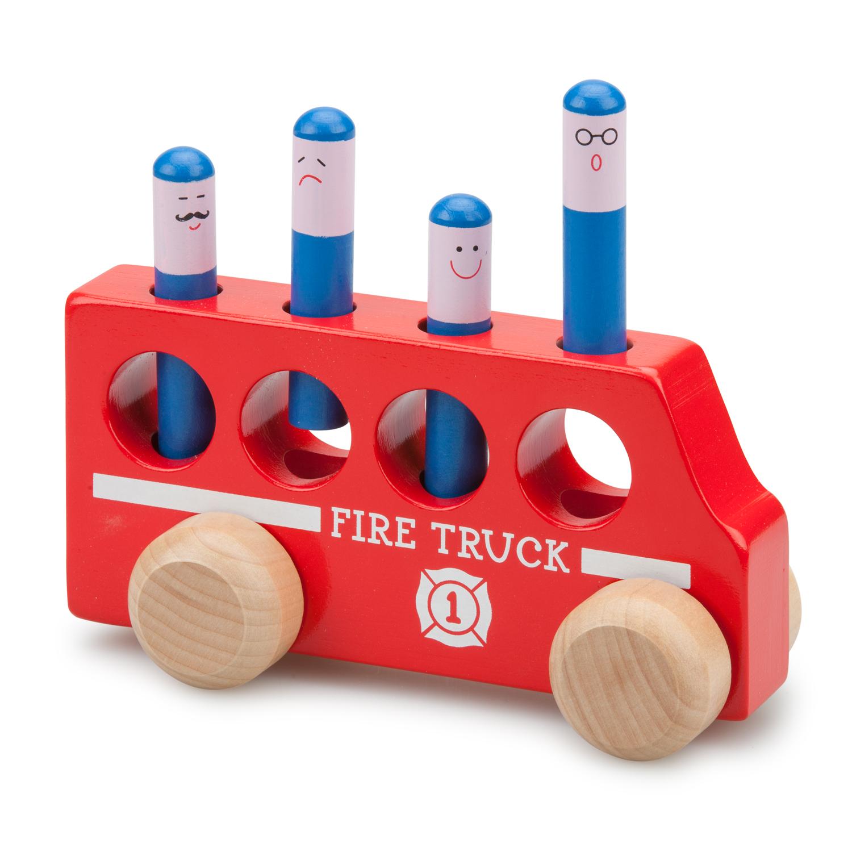 дървена играчка-подскачащите пожарникари-фината моторика-bellamie
