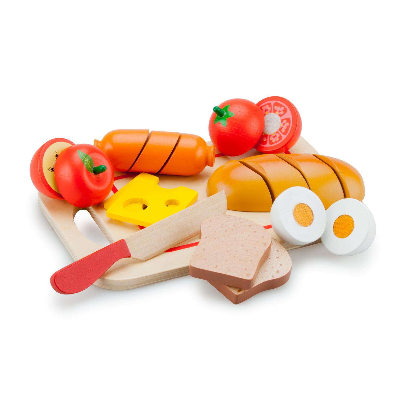 дървена играчка-дъска с продукти за рязане- Закуска-bellamie