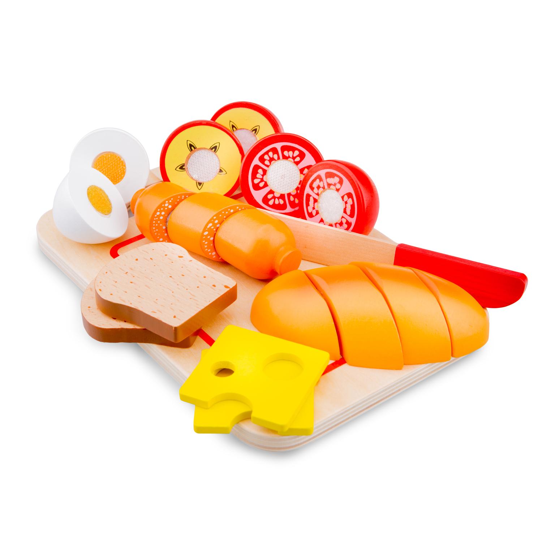 дървена играчка-дъска с продукти за рязане- Закуска(1)-bellamie