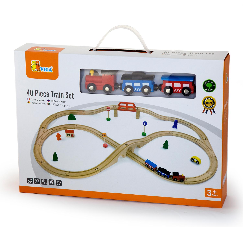 Детски дървен влак 49-части-Viga(3)