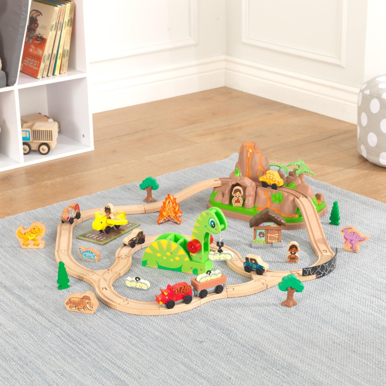 Детски дървен влак - Света на динозаврите - дървена играчка(2)-bellamie