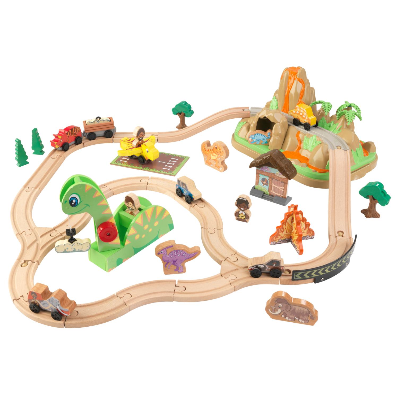 Детски дървен влак - Света на динозаврите - дървена играчка(4)-bellamie