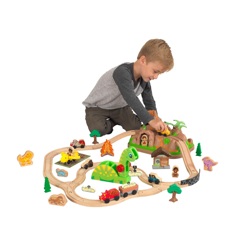 Детски дървен влак - Света на динозаврите - дървена играчка(3)-bellamie