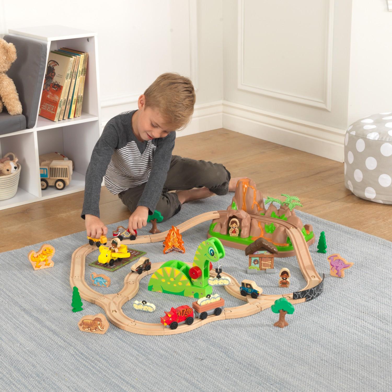 Детски дървен влак - Света на динозаврите - дървена играчка(11)-bellamie