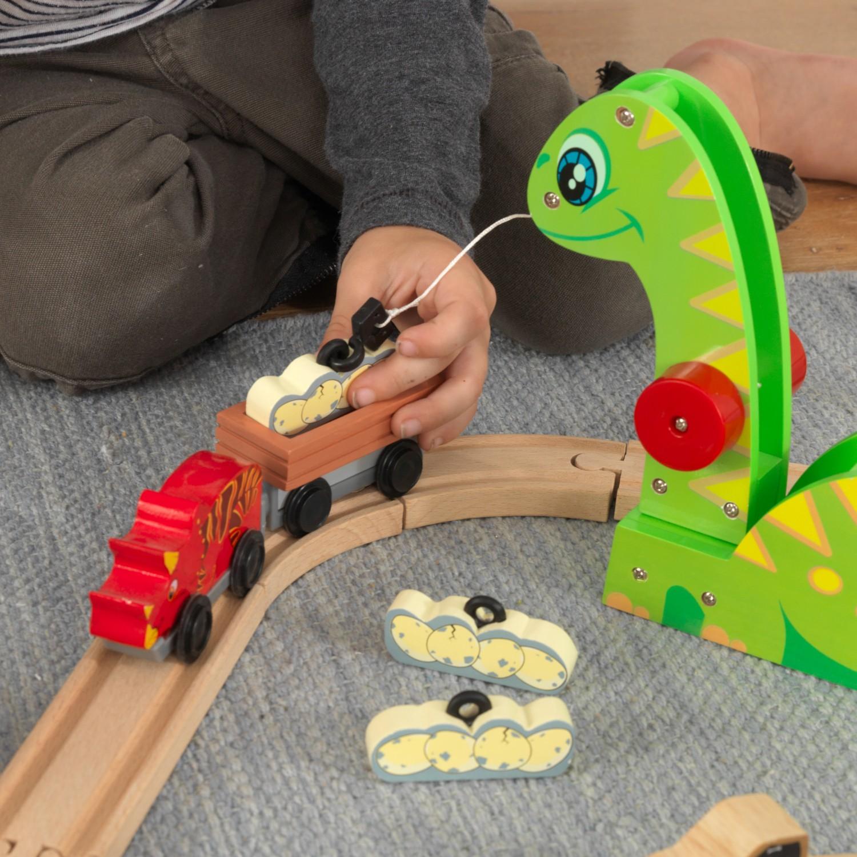 Детски дървен влак - Света на динозаврите - дървена играчка(9)-bellamie