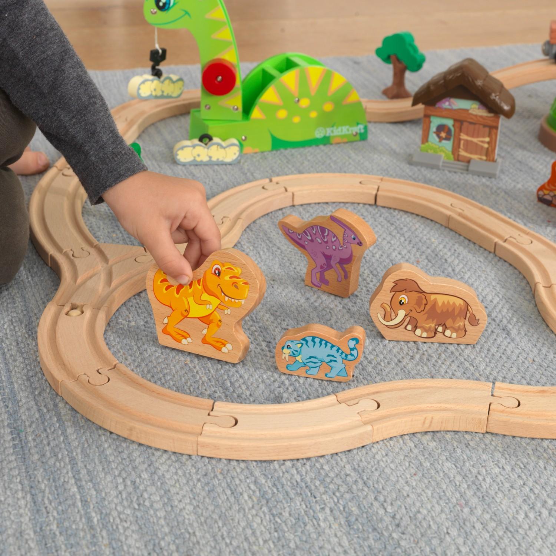 Детски дървен влак - Света на динозаврите - дървена играчка(7)-bellamie