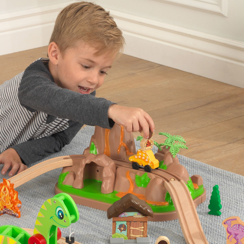 Детски дървен влак - Света на динозаврите - дървена играчка(6)-bellamie