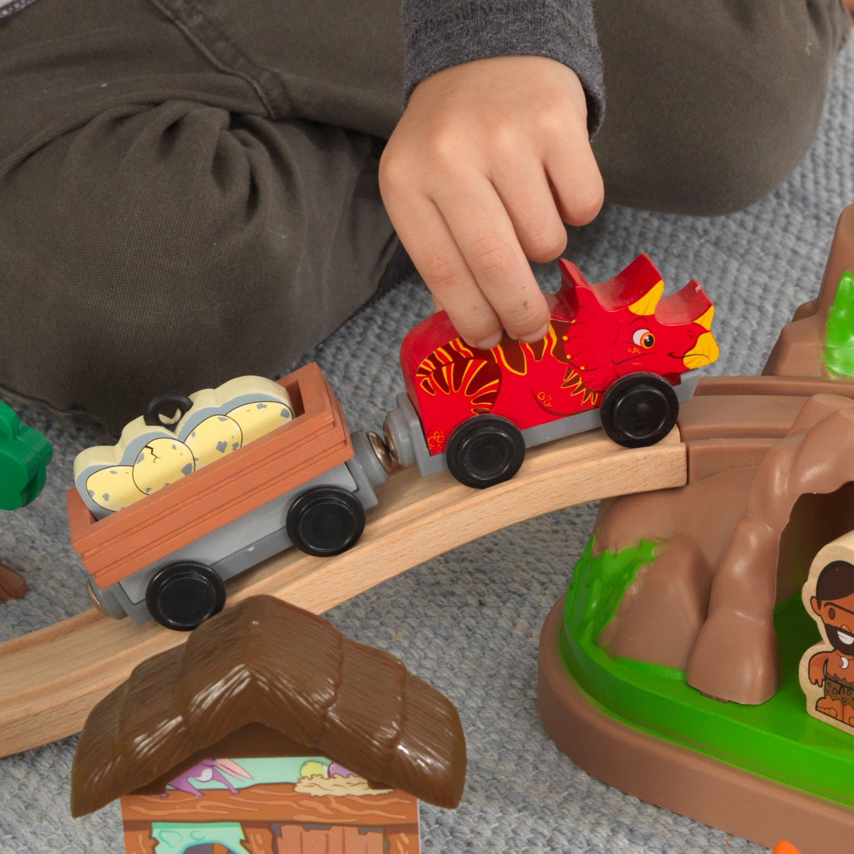 Детски дървен влак - Света на динозаврите - дървена играчка(5)-bellamie