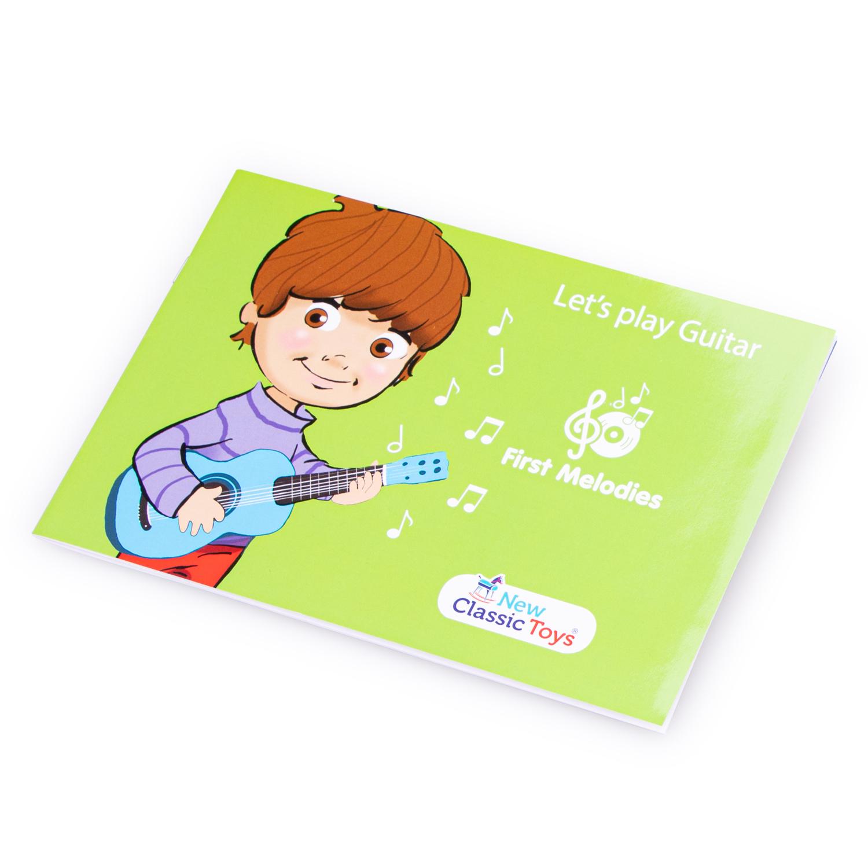 Книжка с ноти за детска дървена китара в синьо с ноти -bellamiestore