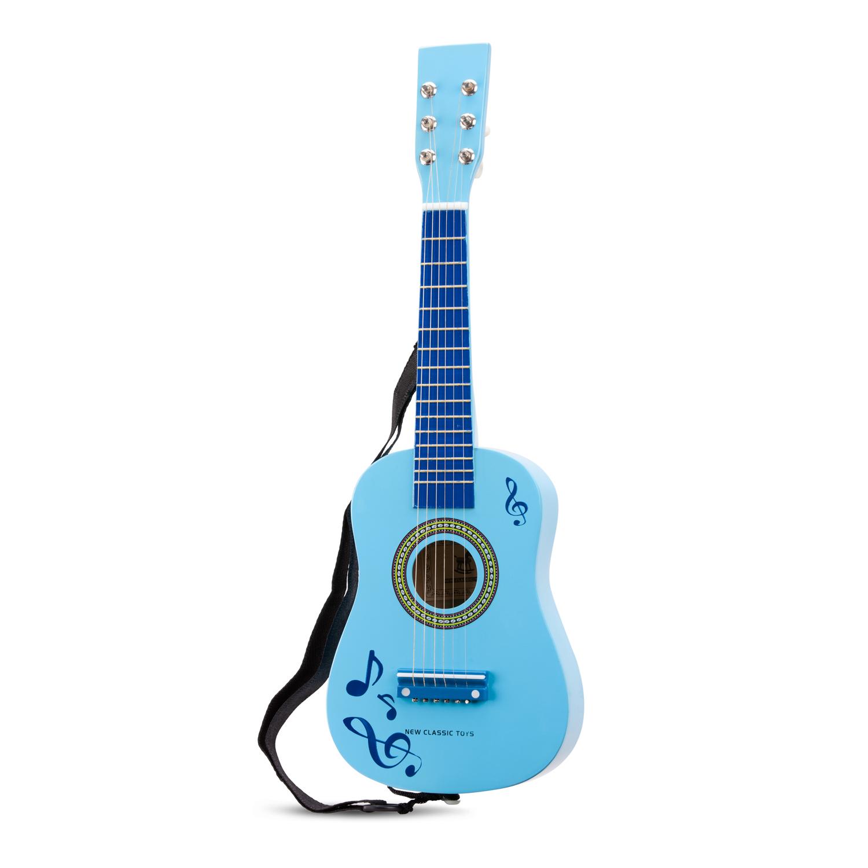 Дървена синя китара с ноти -детски музикални инструменти от New classic toys-bellamie
