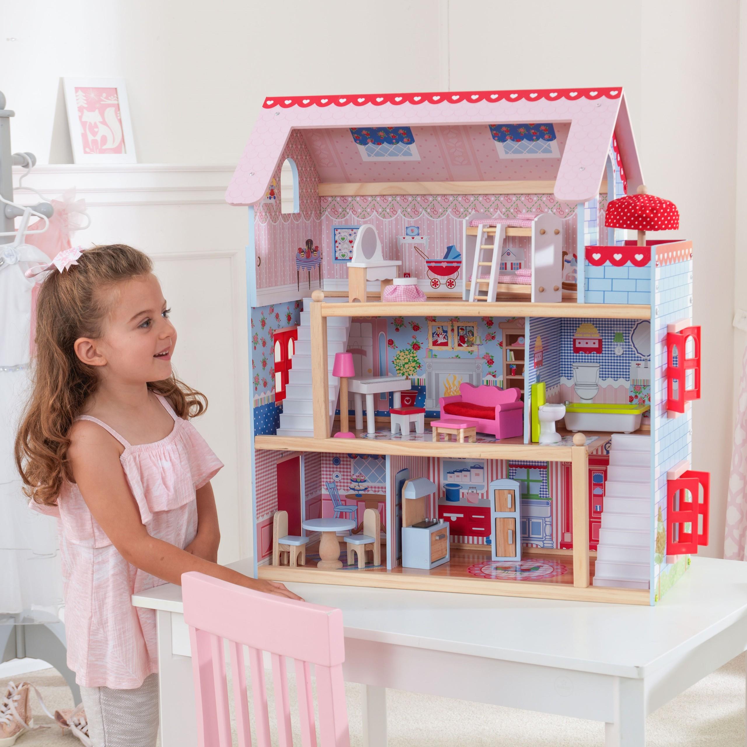 Детска дървена къща за кукли - Челси от Kidkraft(9)-bellamie