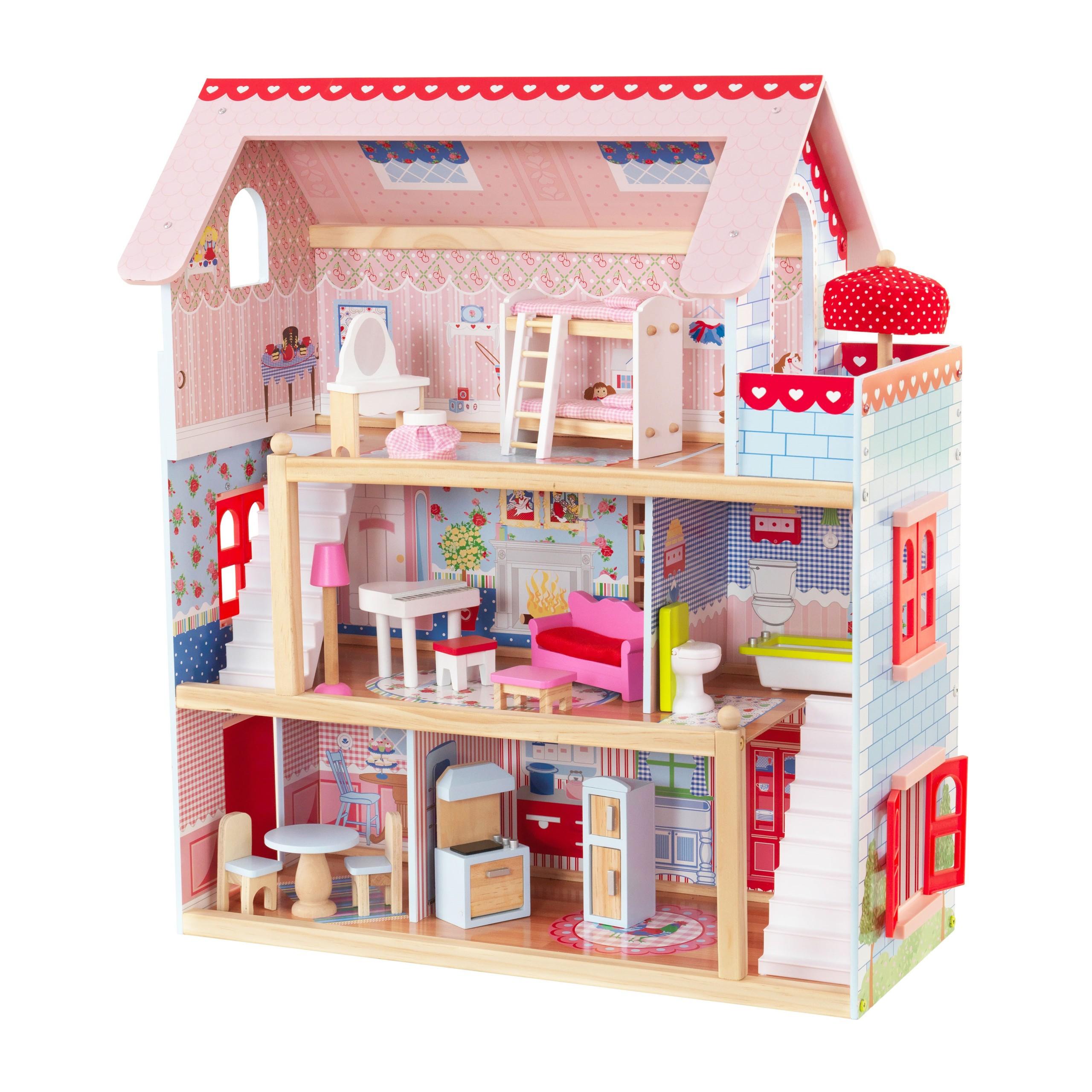 Детска дървена къща за кукли - Челси от Kidkraft(1)-bellamie