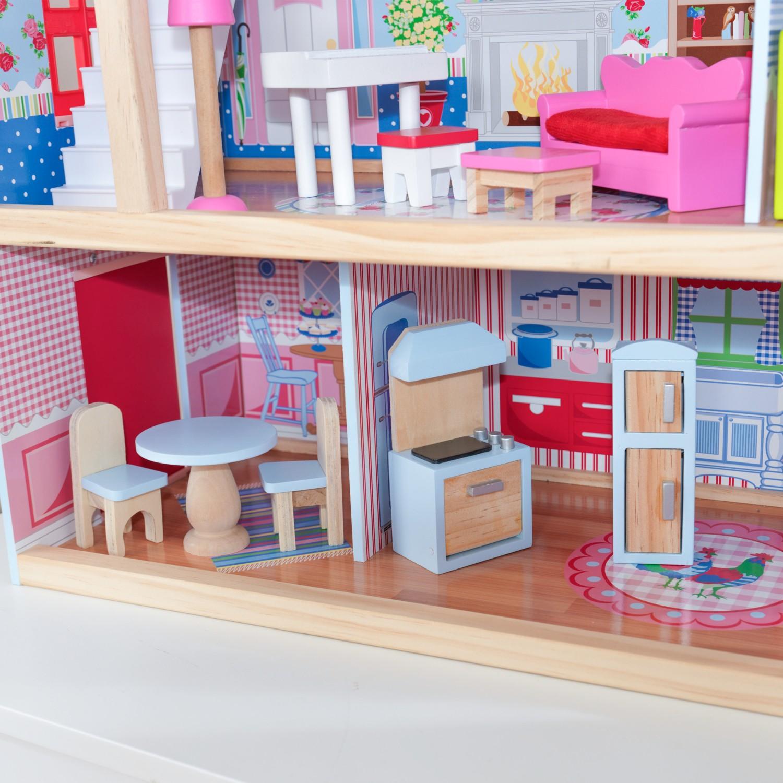 Детска дървена къща за кукли - Челси от Kidkraft(3)-bellamie