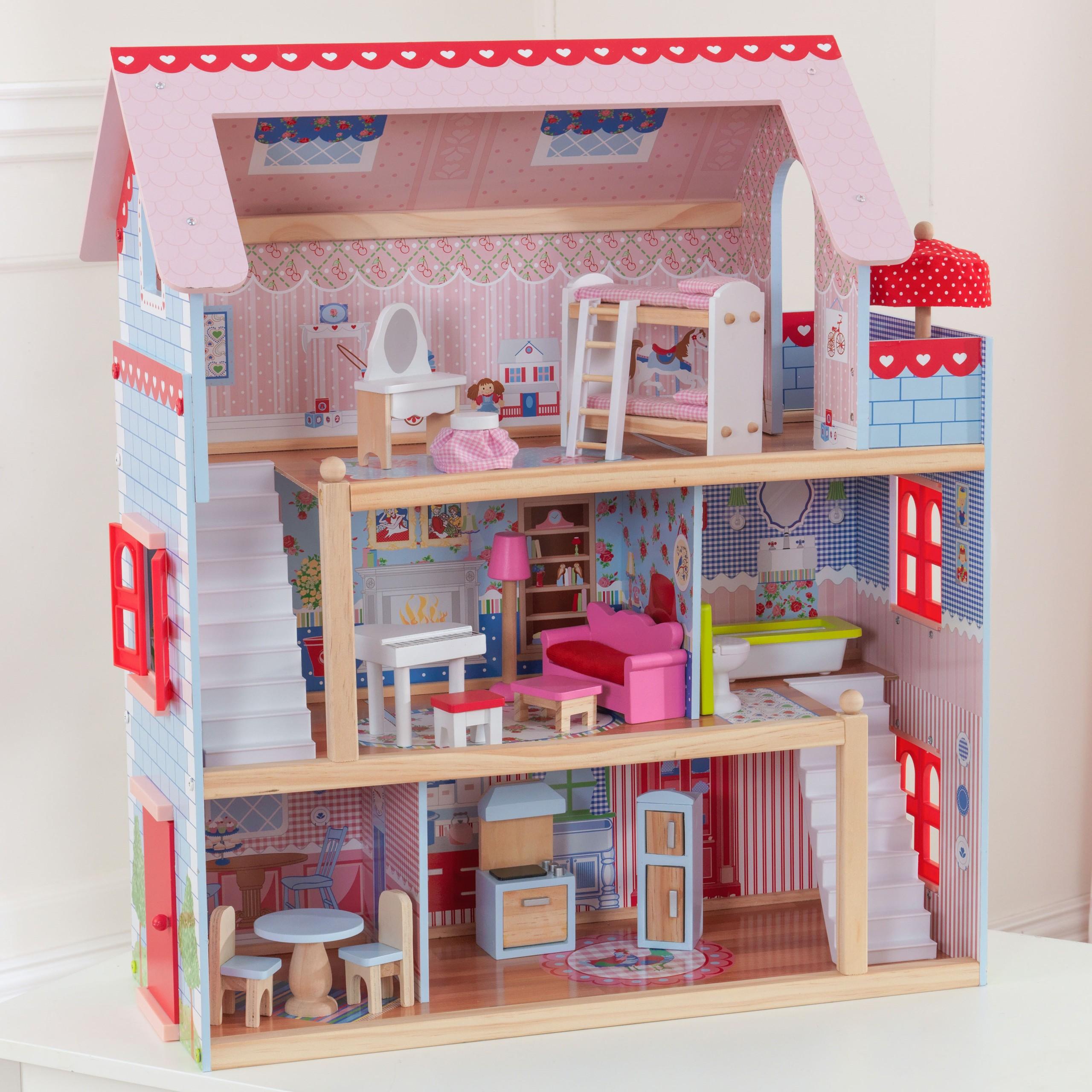 Детска дървена къща за кукли - Челси от Kidkraft(4)-bellamie
