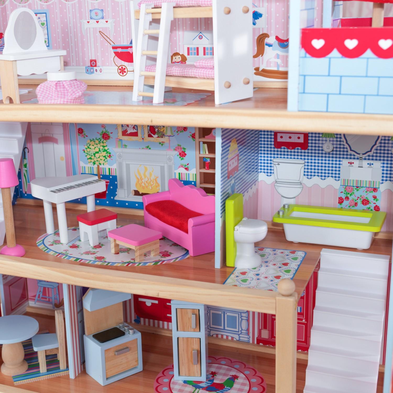 Детска дървена къща за кукли - Челси от Kidkraft(5)-bellamie